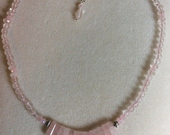 Rose quartz bib necklace with silver