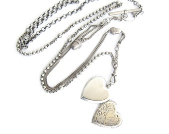 Step Right Up — antique acorns watch chain and sterling heart locket necklace