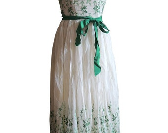 Harry Keiser Dress Vintage 1950's White Chiffon Maxi Dress with Green Floral Embroidery