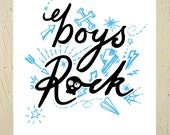 Boys Rock - black and blue type print. Large. Perfect print for a boys room or nursery. Sketches of lightning bolts, skulls, paper planes...