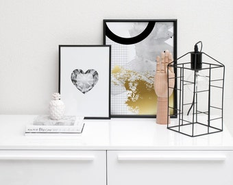 Abstract Art / Gold Foil Poster / Living Room Decor / Watercolor Geometric Print / Modern Poster / Scandinavian Print / Mid Century Modern