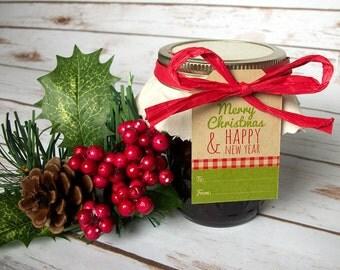 Kraft Christmas name tags for holiday gifts & Ball mason canning jars, Merry Christmas and Happy New Year gift hang tags, christmas gift tag