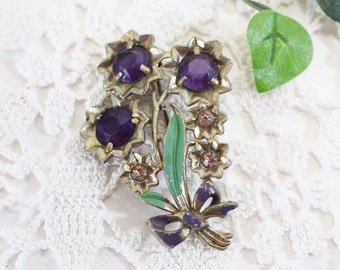 Purple Rhineston Flower Brooch, Vintage Pin    - C