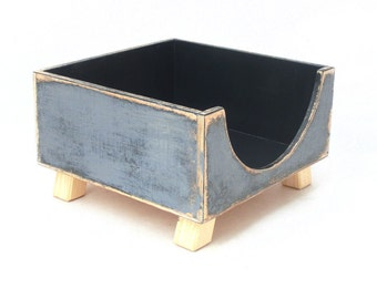 NAPKIN holder - wooden box - Grey / Black, Back to school, Mothers day gift, Spring home decor