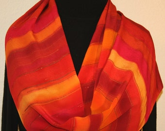 Silk Scarf Handpainted. Red, Berry, Terracotta Hand Painted Silk Shawl SUNSET RAINBOW. Size 11x60. Birthday Gift. Mother's Day Gift