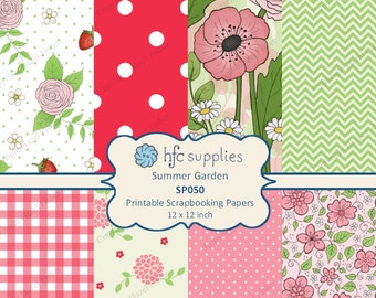 Summer Garden Digital Papers, flowers, strawberry, gingham, chevron, spots, red, pink, Printable Scrapbooking Paper - Instant Download SP050