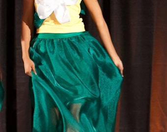 """Enchanted Garden Designs - """"Flower"""" Skirt and Yellow Top - Size Small to Medium - One of a Kind"""
