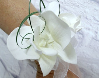 Wedding corsage, White orchid wrist corsage, Mother of the bride corsages