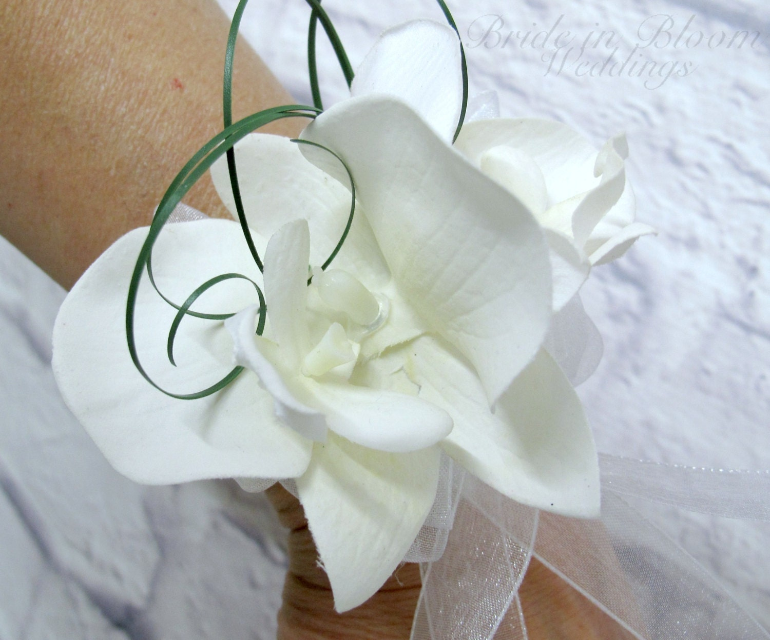 Wedding corsage White orchid wrist corsage Mother of the
