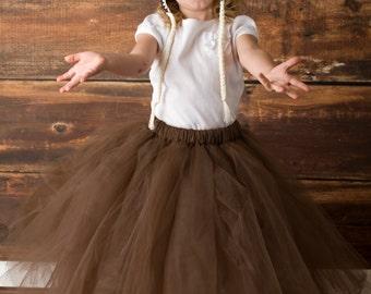 Full Length Tutu -  Girls Long Skirt - SEWN tutu- flowergirl skirt - halloween tutu - Full length tulle skirt - brown tutu - flowergirl tutu