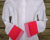 Bell Sleeve with Pink Orange Pattern & Pink Houndstooth Shirt; LB13