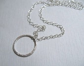 Circle Pendant Necklace, Fine Silver Hammered Circle Sterling Silver Jewelry Chain Necklace