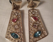 RHINESTONE DANGLE EARRINGS / Clips / Asymmetrical / Swinging Sixties / Disco-A-Go-Go / Blue / Pink / Pastel / Runway / Pavé / Accessories
