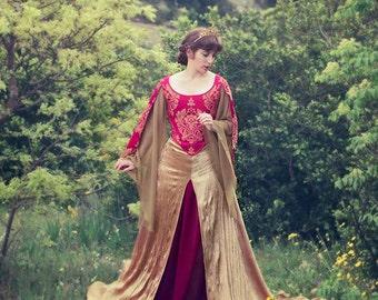 Lannister Preraphaelite Red and Gold Celtic Dress Elvish, Medieval, Pre- Raphaelite, Fantasy, Faery Bridal handfasting Gown Costume