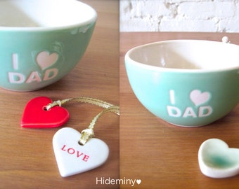 One of a kind, Gift for Dad - I Love Dad Angel Light Turquoise Green Bowl with love and red heart tag, green heart cutlery rest.