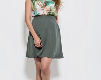 Mini length skirt, short skirt, high waisted, green skirt, Classic skirt, Womens Skirt, Casual Skirt, summer skirt,