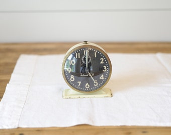 Vintage cream black alarm clock, Natural Call alarm clock, photo prop, vintage metal alarm clock