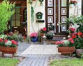 Germany Photography - Door Photography - Travel Photography - European Cottage Decor - Garden Wall Art - Door Print - Eutin Photo - Flowers
