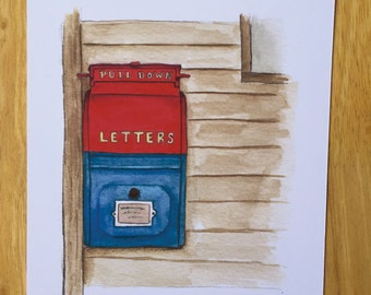 youve got mail letter box love vintage mailbox postoffice letterbox vintage inspired post watercolor art print small town life