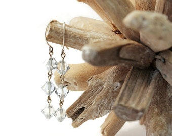 Crystal Blue Dangle Earrings / Antique Silver Earrings / Swarovski Crystal / Vintage Style Earrings / Swarovski Crystal / Choice of Colour