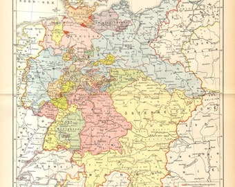 1894 Map of the German Empire 1815-1866, German Confederation