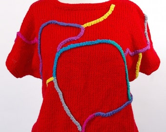 Red Knit Short Sleeve Sweater