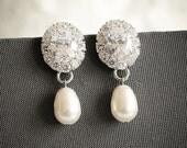 Crystal Bridal Earrings, Swarovski Pearl Drop Wedding Earrings, Art Deco Halo Wedding Bridal Jewelry, Zirconia Dangling Earrings, IMOGEN