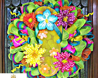 Bright Whimsical Summer Flip Flop Wreath