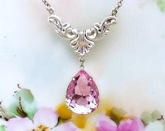 Pink Necklace - Princess Pink Necklace - Birthday Gift Idea - Wedding Jewelry - Prom - New Mom Gift Idea