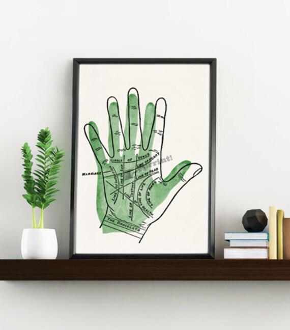 Wall art print Palmistry lines - White Hand reading print Wall decor Anatomy art print, Art and collectibles SKA083WA4