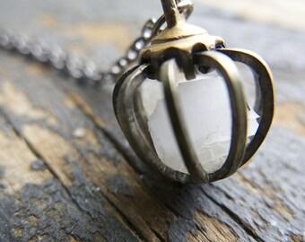 Moonstone Boho Gemini Sign Necklace June Moon Rustic Cage Raw Crystal Birthstone Birthday Gifts Mom Girlfriend Gemstone Jewelry cage Pendant