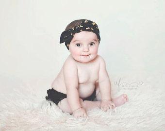 Gold Polka Dot top knot headband, baby top knot headwrap, girls twist headband, Knot headband, Gold Knot headband, Turban headband, baby