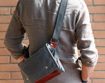 Crossbody bag - Boyfriend gift - Waxed canvas bag - bike bag - leather and canvas bag - waxed canvas pouch - waxed canvas shoulder bag