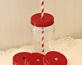 Mason Jars, 6 Plastic Mason Jars with Metal Straw Hole Lids, Mason Drink Jars, Mason Jar Party Favors, Wedding Favors, Birthday  Party,