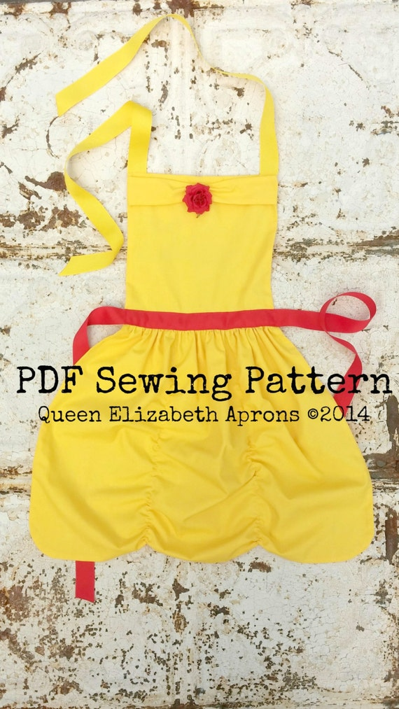 This listing is for a Sewing Pattern to make your own Belle, Beauty and the Beast Child Apron.