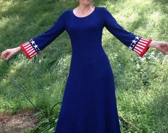 VTG 60's 70's Red white Blue maxi Dress Picardo Knits 4th of July star stripe