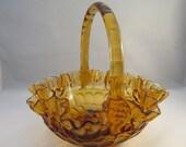 Fenton Amber Ruffled Glass Colonial Brides Thumbprint Basket