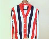 1950s Jantzen Cardigan Sweater - Red, White, and Blue Stripes - Patriotic Boyfriend Sweater