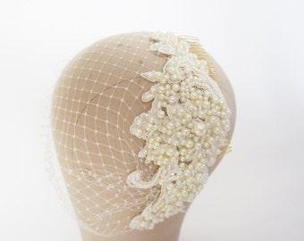 Birdcage Veil, Bandeau Veil, Russian Veil, Vintage Inspired, Bridal Veil, Bridal Hat, Bridal Headpiece, Victoria Birdcage Veil,Olivia Nelson