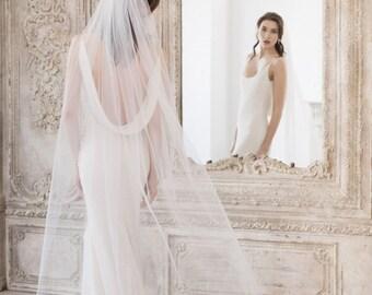 Floor Length Wedding Veil,  Single Tier Wedding Veil, Cut Edge Wedding Veil. In ivory, off white or white.
