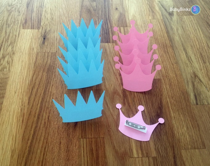 Party Pins: Prince or Princess Gender Reveal Party Baby Shower - Die Cut Pink Girl Tiara & Blue Boy Crowns vote game little
