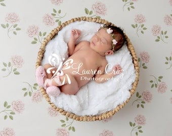 Boho style braided leather halo with light pink or white paper cabbage roses for newborns