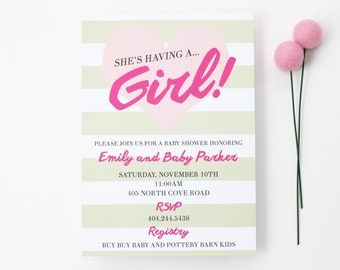 Girl Baby Shower Invitations Custom Invites Personalized Baby Announcements Light Pink Tan Beige Brown Stripes Baby Sprinkle / Set of 10