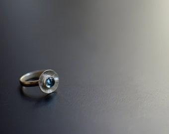 Aquamarine Ring, Sterling Silver Ring, Modern, Contemporary Jewelry, Stone, Aqua, Sky Sea Color