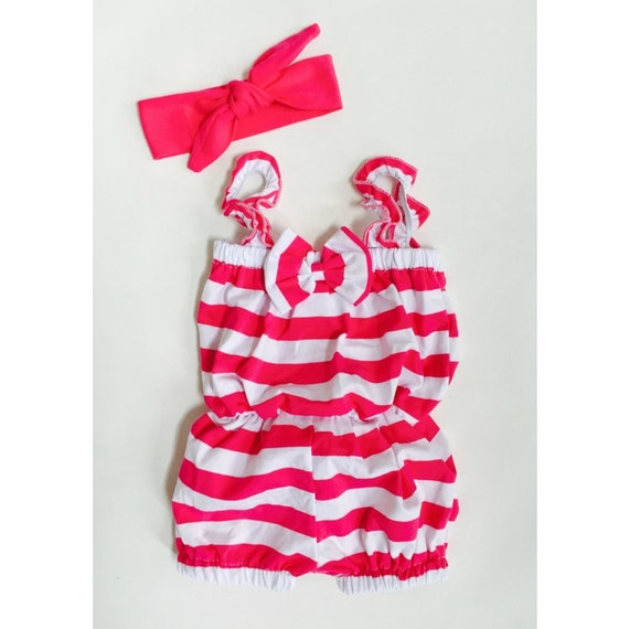 SALE Clearance Bubble Romper Girls Jumper Hot Pink White