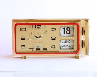 Vintage alarm clock Retro calendar clock Mechanical flip date clock NEW OLD STOCK Diamond Shanghai wind up desk clock Fathers day gift