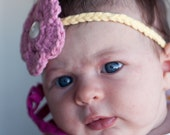 Baby Flower Headband - You Choose Colors - TWO Flowers - Toddler Headband