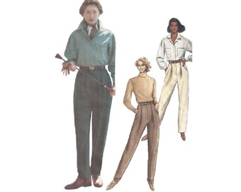 High Waist Tapered Pants Sizes 12-16 Easy to Sew Vogue 7842 Pleats Cuffs or Stirrups Vintage Sewing Pattern 1990s Mom Pants