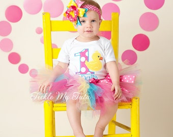 Rubber Ducky Themed Birthday Tutu Outfit-Rubber Ducky Tutu Set-First Birthday Rubber Ducky Party-Rubber Ducky Party *Bow NOT Included*