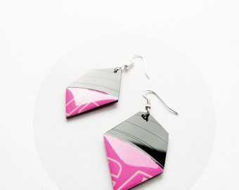 colorful earrings vinyl record earrings pink earrings nugget earrings trending jewelry recycled jewelry funky earrings minimalist jewelry